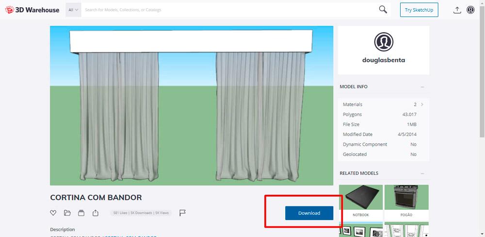 3d warehouse: Como baixar componentes de Sketchup