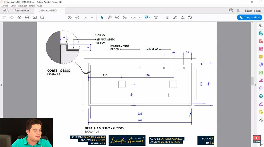 Detalhamento de Projeto de Gesso no Layout