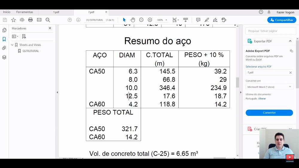 Como calcular lista de materiais para projeto estrutural?