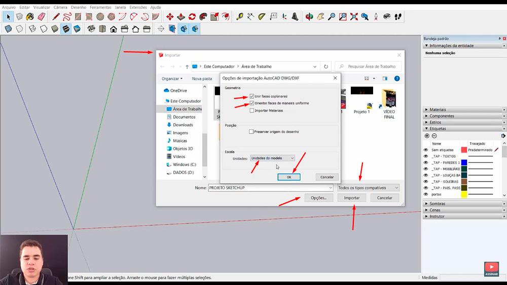 importar projeto do AutoCAD no Sketchup