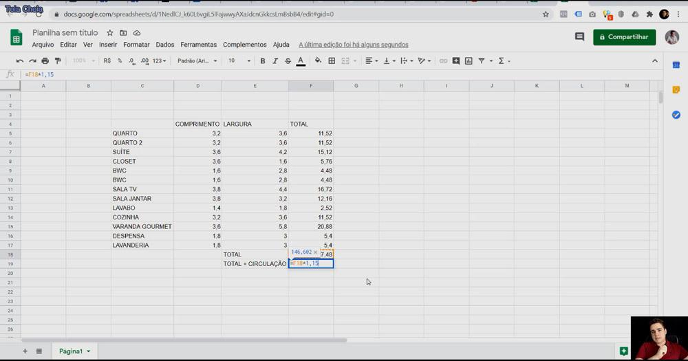 Como calcular a área do projeto