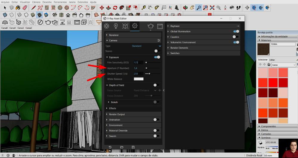 Como configurar a Câmera no Vray do Sketchup